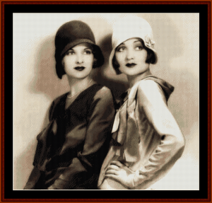 flapper sisters - vintage art cross stitch patterns by cross stitch collectibles