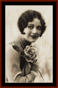 flapper with rose - vintage art cross stitch pattern by cross stitch collectibles