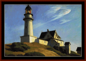 lighthouse - hopper cross stitch pattern by cross stitch collectibles