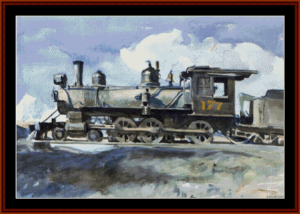 locomotive - hopper cross stitch pattern by cross stitch collectibles