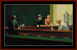 nighthawks - hopper cross stitch pattern by cross stitch collectibles