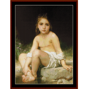 child at bath - bouguereau cross stitch pattern by cross stitch collectibles