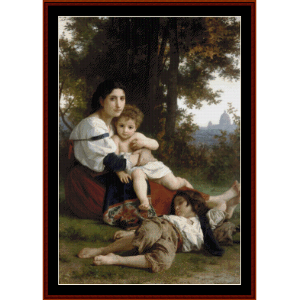 mother and children, 1879 - bouguereau cross stitch pattern by cross stitch collectibles
