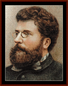 bizet - music composer cross stitch pattern by cross stitch collectibles