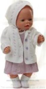 dollknittingpatterns 0152d sophia - jurkje, broekje, jasje, hoofddoek en schoentjes-(nederlands)