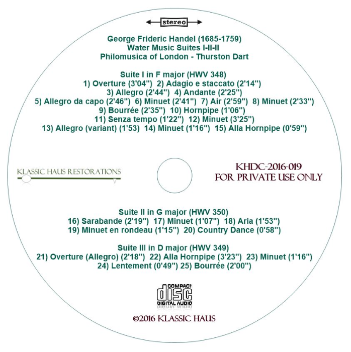Second Additional product image for - Handel: The Water Music Suite I-II-III - Philomusica of London/Thurston Dart