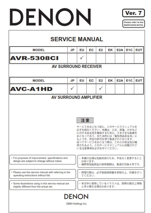 First Additional product image for - Denon AVR 5308CI AVC A1HD SPK 592 Service Manual