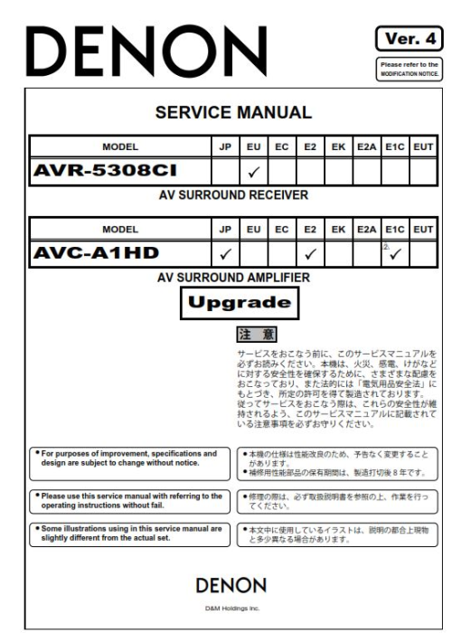 Second Additional product image for - Denon AVR 5308CI AVC A1HD SPK 592 Service Manual