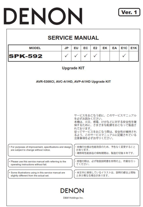 Third Additional product image for - Denon AVR 5308CI AVC A1HD SPK 592 Service Manual
