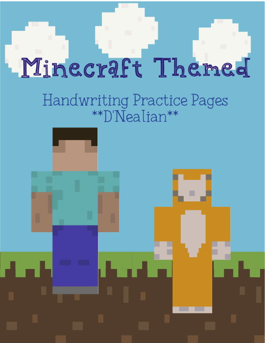 First Additional product image for - Minecraft D'Nealian Print Writing Packet
