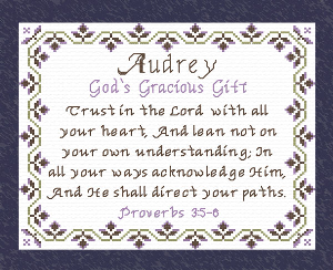 name Blessings - Audrey 2 | Crafting | Cross-Stitch | Religious