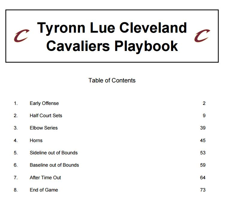 Tyronn Lue Cleveland Cavaliers Playbook  467a92f8a