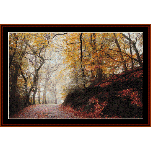 Forest Path in Autumn - Photograph cross stitch pattern by Cross Stitch Collectibles | Crafting | Cross-Stitch | Wall Hangings