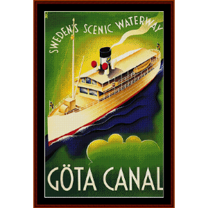 gota canal, sweden (vintage poster) cross stitch pattern by cross stitch collectibles