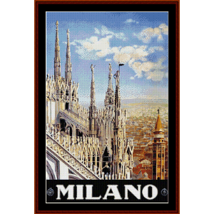 milano - vinttage travel poster cross stitch pattern by cross stitch collectibles