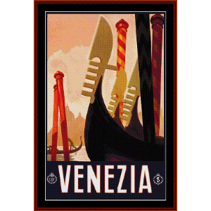 Venezia - Vintage Travel Poster cross stitch pattern by Cross Stitch Collectibles | Crafting | Cross-Stitch | Wall Hangings
