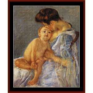 sara handing a toy to the baby - cassatt cross stitch pattern by cross stitch collectibles