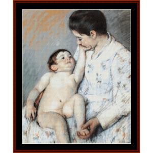 Baby's First Caress - Cassatt cross stitch pattern by Cross Stitch Collectibles | Crafting | Cross-Stitch | Wall Hangings