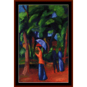 walking in the park - macke cross stitch pattern by cross stitch collectibles