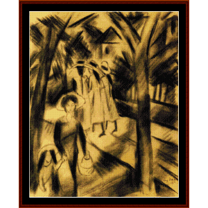 woman with children - macke cross stitch pattern by cross stitch collectibles