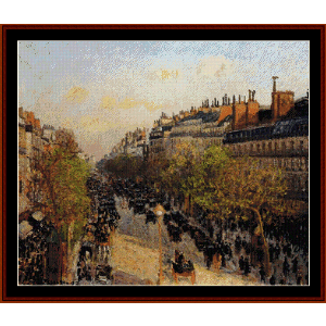Blvd. Montmarte, Sunset 1897 - Pissarro cross stitch pattern by Cross Stitch Collectibles | Crafting | Cross-Stitch | Wall Hangings