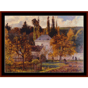 Borgeouis House in Hermitage Pontoise - Pissarro cross stitch pattern by Cross Stitch Collectibles | Crafting | Cross-Stitch | Wall Hangings