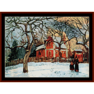 chestnut trees in winter, 1872 - pissarro cross stitch pattern by cross stitch collectibles