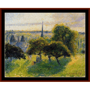 farm and steeple at sunset, 1892 - pissarro cross stitch pattern by cross stitch collectibles