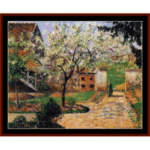 flowering plum tree, 1894 - pissarro cross stitch pattern by cross stitch collectibles