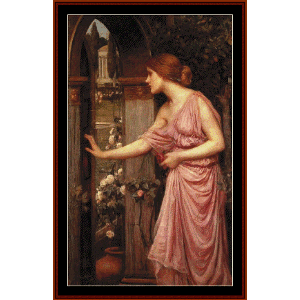 psyche entering cupid's garden - waterhouse cross stitch pattern by cross stitch collectibles