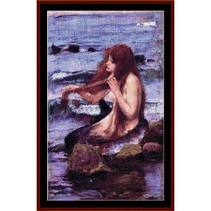sketch for a mermaid - waterhouse cross stitch pattern by cross stitch collectibles
