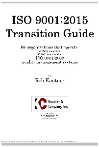ISO 9001:2015 Transition Guide | Documents and Forms | Business