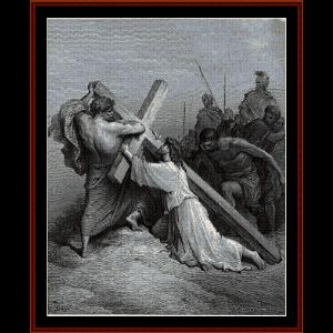 jesus falling beneath the cross - gustav dore cross stitch pattern by cross stitch collectibles