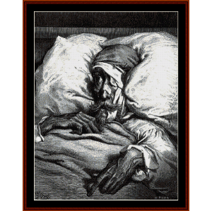 Don Quixote in Bed - Gustave Dore cross stitch pattern by Cross Stitch Collectibles | Crafting | Cross-Stitch | Wall Hangings