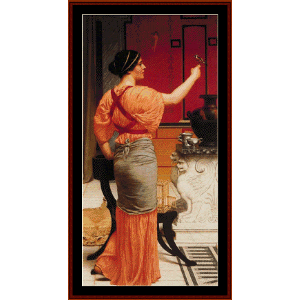 Lesbia with her Sparrow - Godward cross stitch pattern by Cross Stitch Collectibles | Crafting | Cross-Stitch | Wall Hangings