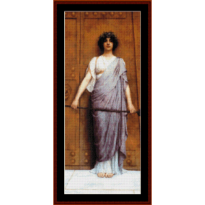 at the gate of the temple - godward cross stitch pattern by cross stitch collectibles