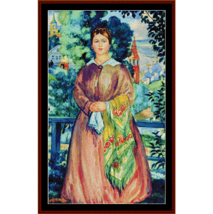 merchant's wife, 1919 - kustodiev cross stitch pattern by cross stitch collectibles