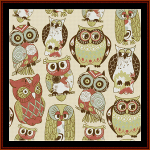 abstract owls cross stitch pattern by cross stitch collectibles