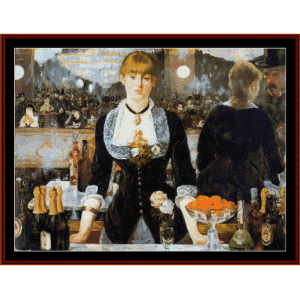 the folies berger, 1882 - manet cross stitch pattern by cross stitch collectibles