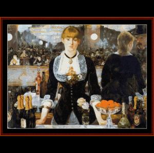 The Folies Berger, 1882 - Manet cross stitch pattern by Cross Stitch Collectibles | Crafting | Cross-Stitch | Wall Hangings