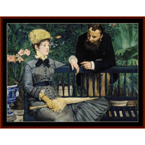 in the conservatory, 1879 - manet cross stitch pattern by cross stitch collectibles