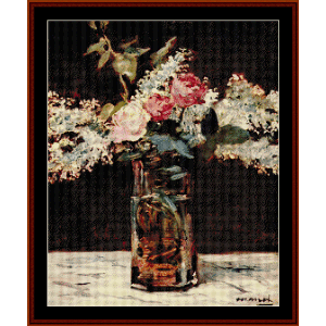 lilac and roses, 1883 - manet cross stitch pattern by cross stitch collectibles
