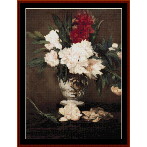 vase of peonies, 1864 - manet cross stitch pattern by cross stitch collectibles