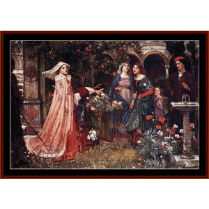 the enchanted garden, 1917 - waterhouse cross stitch pattern by cross stitch collectibles