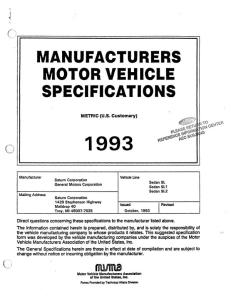 1993 Saturn SL MVMA | eBooks | Automotive