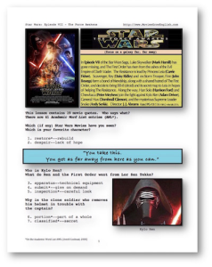 star wars : the force awakens, whole-movie english (esl) lesson