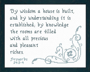 By Wisdom a House is Built | Crafting | Cross-Stitch | Religious