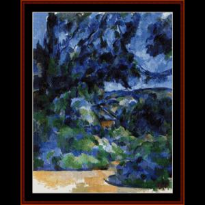 blue landscape - cezanne cross stitch pattern by cross stitch collectibles