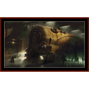 steampunk train - fantasy cross stitch pattern by cross stitch collectibles