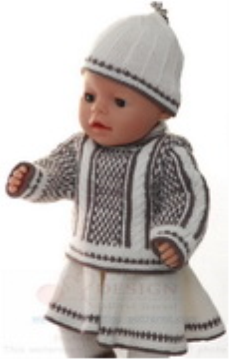 First Additional product image for - DollKnittingPatterns 0157D SOPHIA - Genser, skjørt, strømpebukse, lue og sokker-(Norsk)